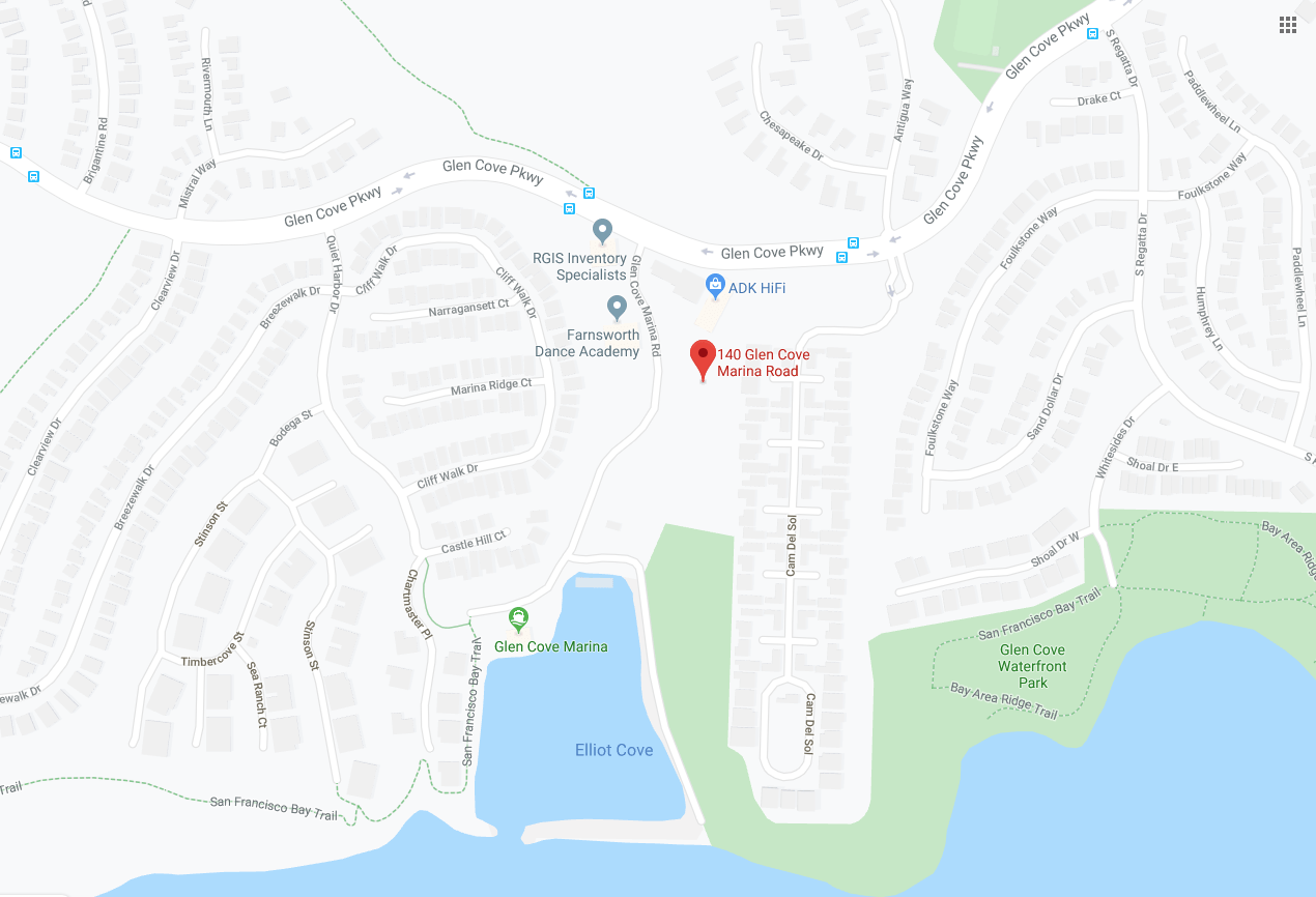 map showing location of 140 glen cove marina road